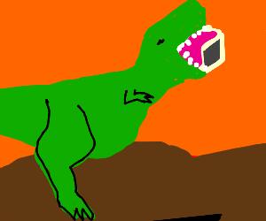Dinosaur eating an iMac