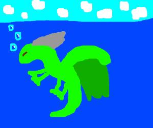 green dragon underwater