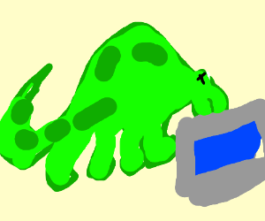 a green dragon that is drowning in the ocean