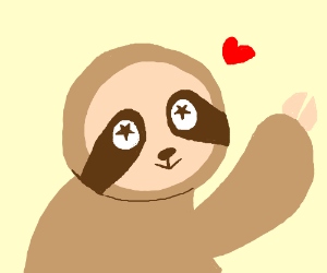 sloth with popping eyes with stars in them
