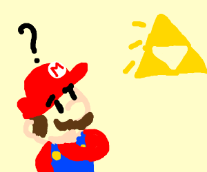 Mario confused by Triforce