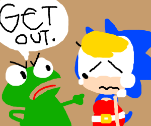 a frog telling genderbend Sonic to get out
