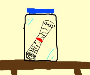 Newspaper in a jar