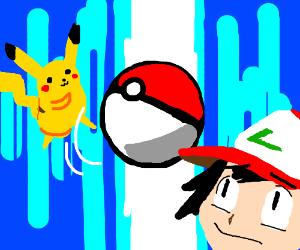Pikachu catches Ash