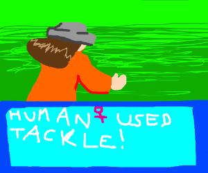 Orange lady in dress with grey hat uses tackle