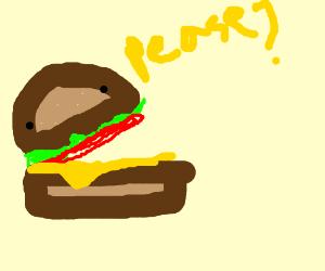 Hey Boss, can i hab the hamburger please - Drawception
