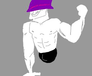 A ripped, legless man wearing a purple helmet.