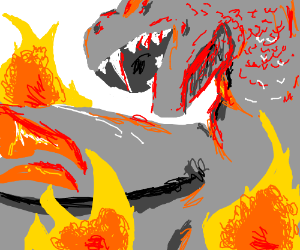 Dragon is surrounded by fire