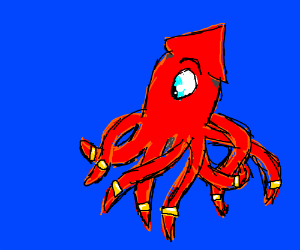 Squid with rings on tentacles