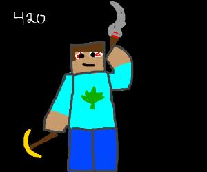 minecraft man smokes weed