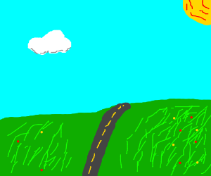 a sunny day: a road on a hill