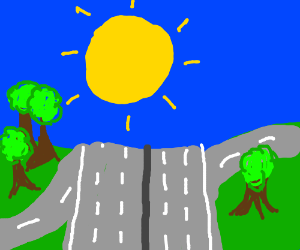 motorway junction surrounded by forest