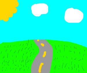 A straight road in an open fieldgoingtohorizon