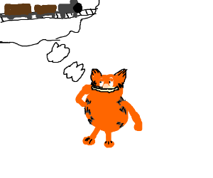 An orange cat thinking of trains