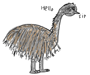 Ostrich with respectful manners