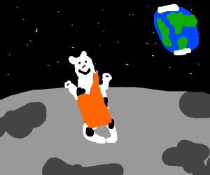buddhist cow on the moon
