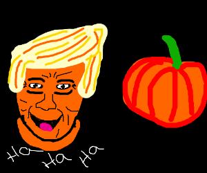 Trump laughs at a pumpkin