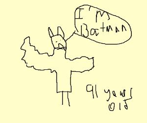 Elderly Batman still professing his name