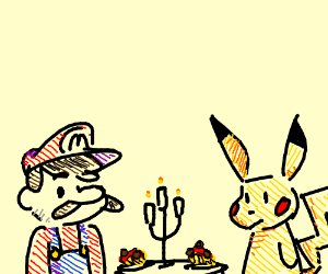 Video game characters having dinner