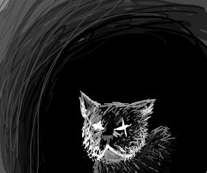Wolf Hiding in Dark Cave