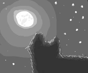 a cat looking at the moon (great drawing!)