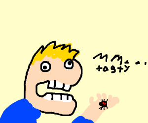 Man eats spider