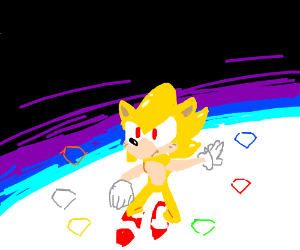 Blond Sonic in the sky with rubies