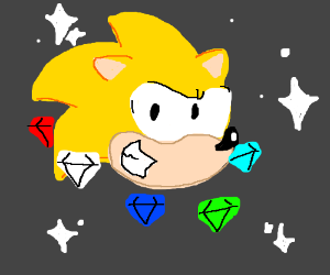 Super Sonic with Chaos Emeralds
