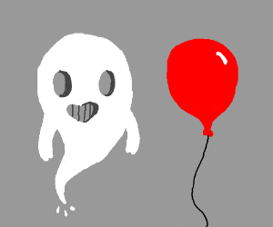 a nice ghost next to a balloon