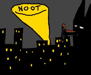 Pingu becomes Batman (bat signal says noot)