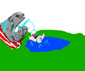 fish catching a man