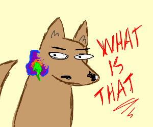 dog with hideous purple tumor excreting green
