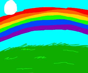 Rainbow over grassy plains (sun is an egg)