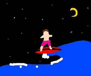 Surfing at night