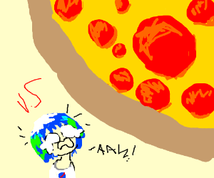 Earth-chan vs a really big pizza (kill me plea