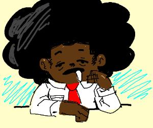 Afro guy falling asleep on the job