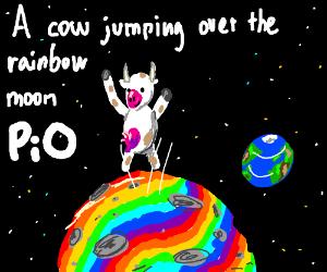 A cow jumping over the rainbow moon pio - Drawception