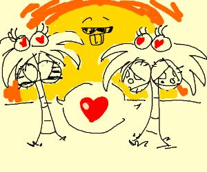 Palm tree girls love the hip sun