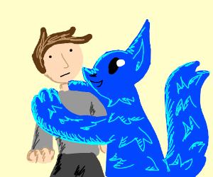 blue furry hugs a man