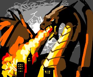 Huge dragon attacks a city