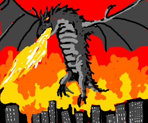Giant dragon rises up from the flames