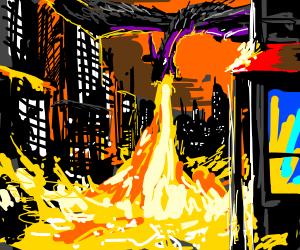 A dragon destroys the city