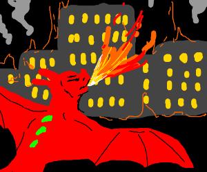 Dragon burning down a city