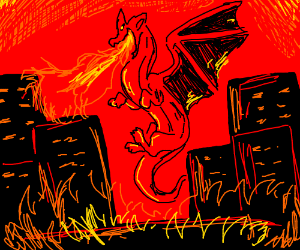red dragon burning down the city