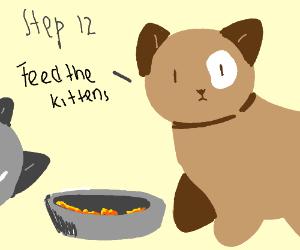 Step 11: Hug the kittens.