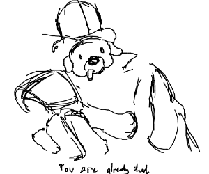 "swole dog in top hat: ""omae wa mou shindeiru"""