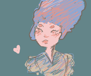 A Pink Girl with a Huge Purple Afro
