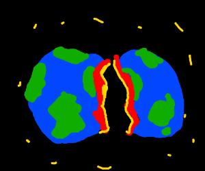Earth cracks in half