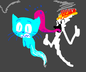 Cat ghost gets licked by blunt