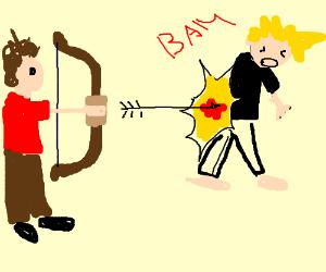 archer shoots an explosive arrow at a guy